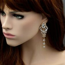 18K Gold Plated GP Clear Crystal Rhinestone Wedding Drop Dangle Earrings 07314