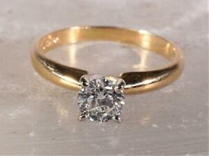 .46 CT Diamond Solitaire Engagement Ring 14K Yellow Gold Size 5