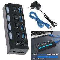 4 Port Verteiler USB 3.0 Hub Splitter Adapter mit Netzteil Power Schalter für PC
