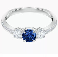 ATTRACT TRILOGY RING BLUE RHODIUM SIZE 8
