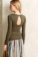 New Anthropologie Womens Eloise Long Sleeve Seamless Camila Tee Top Green S $58