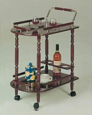 Cherry Wooden Beverage Cart Serving Bar Rolling Tray Wine Storage Portable Party