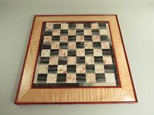 "OOAK Custom Made Wood & Stone Chess Board 1 3/16"" Squares"