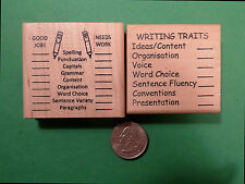 Teacher's Writing Editing Rubber Stamp Set of 2, with BRITISH SPELLLING