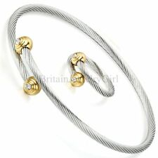 Stainless Steel Simulated Pearls Twisted Cable Bangle Bracelet Ring Jewelry Set