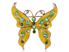 Enamel Lemon Lime Peridot AB Green Crystal Rhinestone Butterfly Bug Pin Brooch