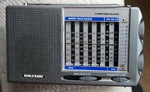 Portable 12 Band World Receiver Radio, FM MW, LW, SW, Tested Working