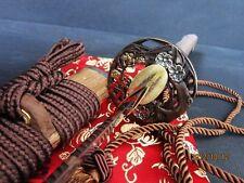 Handforged clay tempered sanmai blade flower tsuba katana hualee wood sheath sha