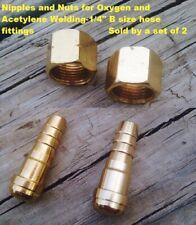 """Superior Twin Hose Repair B fittings 1//4/"""" ID Nipple NP-10 /& Nut N-20/&21 Set of 2"""
