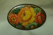 Vintage Collectible Russian Lacquer Palekh Flower Brooch - Hand Painted 2 inches