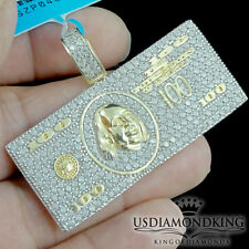 MEN YELLOW GOLD OVER .925 STERLING SILVER CASH MONEY BILL CHARM PENDANT NEW
