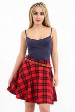 Anarkali Women's Elasticated  Tartan Print Belted Skater Check Flared Skirt