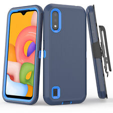 For Samsung Galaxy A01 Hybrid Shockproof Case Cover Clip Fits Otterbox Defender