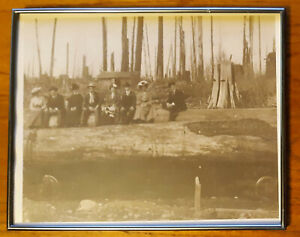 Vintage Sitting in their sunday best on log & railroad car logging picture frame