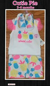 3-6 Month Girls Pineapple Shorts, Tank, Sandals Matching Summer Set *NEW W/ TAGS