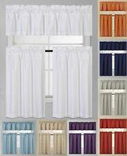 3Pc Blackout Window Treatment Kitchen Curtain Panel Tier & Valance Set