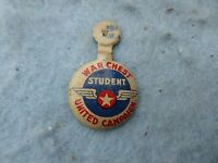 WWII War Chest United Campaign Student Volunteer Patriotic Pin US Home Front