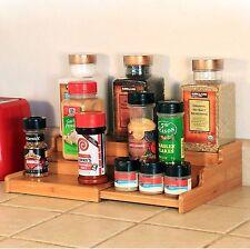 3 Tier Expandable Bamboo Spice Rack Step Shelf Organiser for Spices Bottles Oils