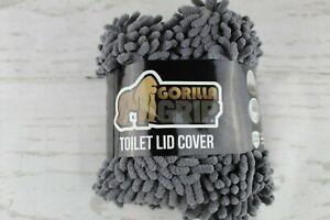 "Gorilla Grip Original Shag Chenille Bathroom Toilet Lid Cover 19.5"" x 18.5"" Gray"