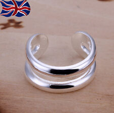 925 Sterling Silver plated Double Ring Thumb Finger Band Rings Gift UK