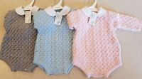 Baby's Spanish Style Knitted Romper Suit with Peter Pan Collar - pink grey blue