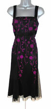 Stunning Kaliko Black Pink Embroidered Evening Occasion Dress   Size 14