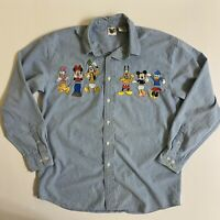 Vintage Disney Catalog Button Front Dress Shirt Medium Mickey Donald Embroidered