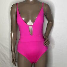 M 8-10 Becca Plunge V-Neck Swimsuit Back Keyhole Tie Adj Straps Pink NWOT