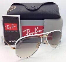 RAY-BAN Aviator Sunglasses RB 3025-J-M 146/32 White&Gold Frame/Grey Fade Lenses