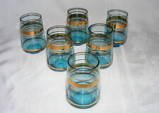 "VINTAGE SHOT GLASS, Set of 6, Glass Aqua with Gold Rings, 2.5"" tall"