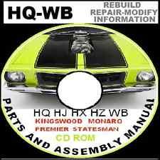 Holden HQ HJ HX Hz WB MONARO GTS 308 350 Parts Restoration Assembly Bible CDROM