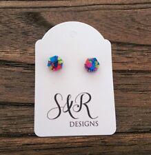 Hexagon Mini Stud Earrings, Neon Glitter Resin Earrings 6mm