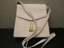 VTG BALLY Cream Textured Leather Crossbody Shoulder Bag Made in Italy
