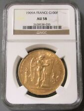 1909 A GOLD FRANCE 100 FRANCS STANDING GENIUS COIN NGC ABOUT UNC 58