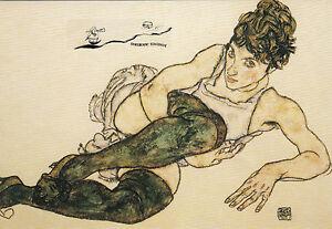 Doppelkarte: Egon Schiele - Reclining woman with green stockings