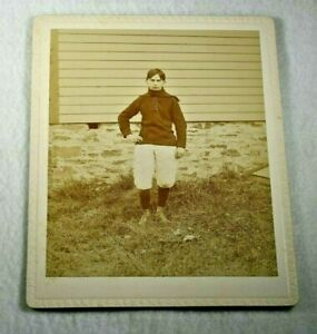 Early 1900's FOOTBALLALL PLAYER in UNIFORM-Great Image-ALFRED NEW YORK