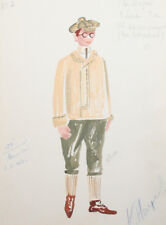 1962 Vintage boy costume design watercolor drawing signed