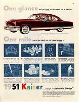 1951 ORIGINAL VINTAGE KAISER CAR MAGAZINE AD