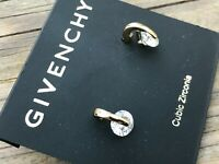 Givenchy Women Earrings Cubic Zirconia Gold Tone Ear Jewelry Stud Crystal Post