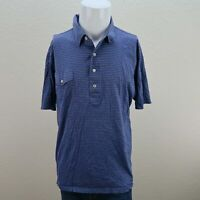 Peter Millar Blue Short Sleeve 100% Cotton Striped Casual Polo shirt Mens Large