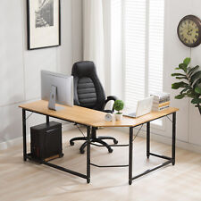 L-Shaped Office Corner Computer Desk Home Office Study Laptop PC Work Wood Table