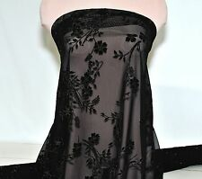 POWER MESH STRETCH  BLACK/BLACK VELVET FLOCKED FLOWERS BY THE YARD /DANCE/FORMAL