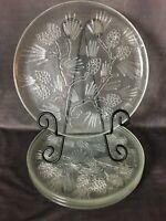 "4 Vintage Dinner Plates 10"" by Tiara Ponderosa Pine Indian Glass Co Pinecones"