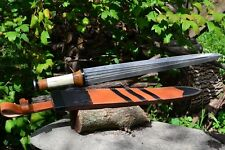Viking Age Carolingian Sword Replica Damascus Steel - Bone, Horn, & Wood Handle