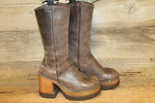 SONAX WOMENS BROWN LEATHER ZIP UP MID CALF PLATFORM CHUNKY HEEL BOOTS SZ 7