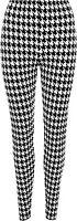 New Plus Size Womens Dogtooth Long Leggings Ladies Full Black White Print 12- 26