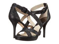 Michael Kors Size 6.5 M Evie Platform Black Leather Sandals Womens Shoes WOB