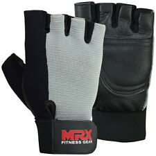 Weight Lifting Gloves Fitness Gym Training Glove Leather MRX Grey / Black, Small