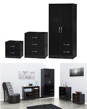 Marina Black High Gloss Bedroom Furniture - Sets Wardrobe Drawers Bedside Desk 3 Piece Set