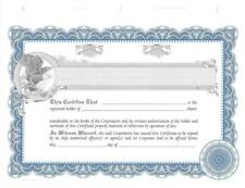 100 Blue StockSmith Stock Certificates for Profit Corporations with Shares